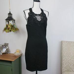 HYFVE Strappy Cage Back Lace Bodycon Dress Black L